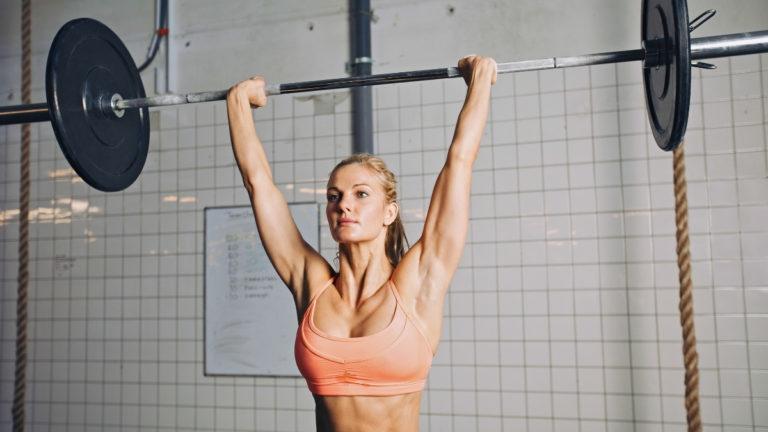 Woman doing push press