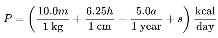 Mifflin St Jeor formula