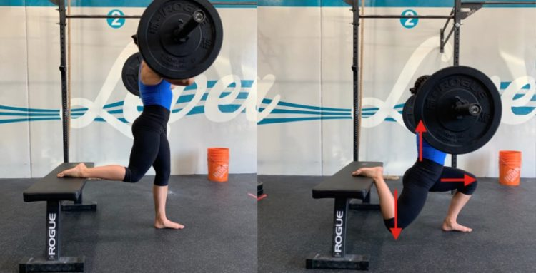 front rack split squat exercise