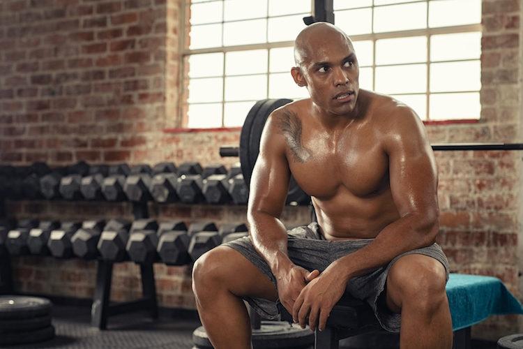 sweaty black athlete