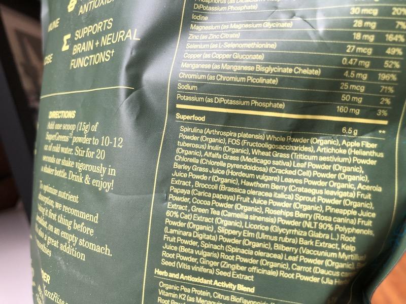 plantrise supergreens72 ingredients