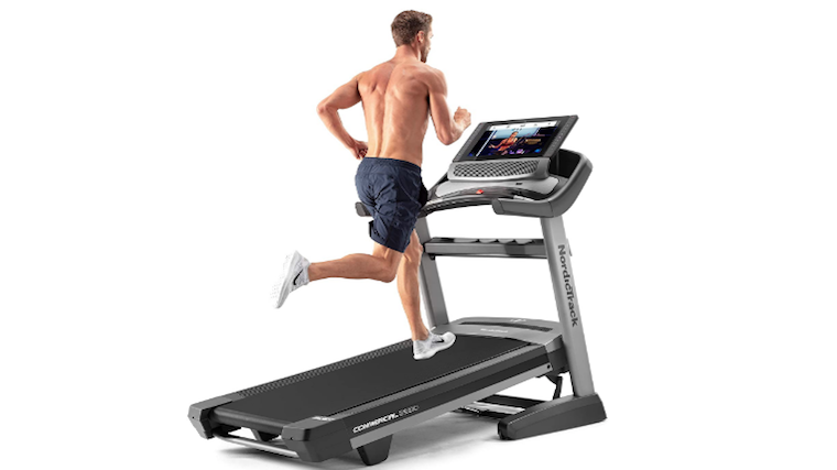 Running on an incline on the 2950 treadmill.