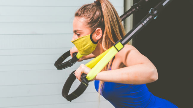 Fitness training in a mask