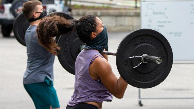 Athletes Training Outside