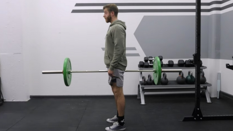 suitcase deadlift with barbell