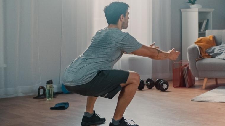 Man performing squat
