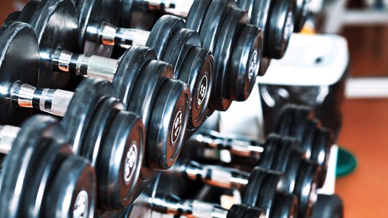 dumbbell rack in gym